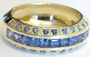 Princess Cut and Round Cut Sapphire Band in 14k yellow gold