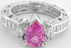 Pink Sapphire Baguette Diamond Eternity Engagement Ring