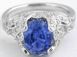 Vintage Inspired Ceylon Sapphire and Diamond Ring in Platinum