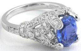 Vintage Inspired Ceylon Sapphire and Diamond Rings in Platinum