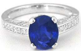 Vibrant Sapphire and Diamond Engagement Ring in 14k white gold