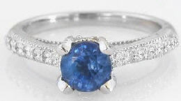 Ceylon Blue Sapphire and Diamond Ring in 14k white gold