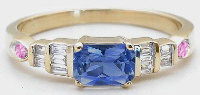 Ceylon Blue Sapphire Diamond Engagement Ring in 14k