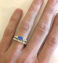 Ceylon Blue Sapphire Engagement Ring and Wedding Band