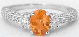 1.46 ctw Natural Orange Sapphire and Diamond Encrusted Ring in 14k k white gold