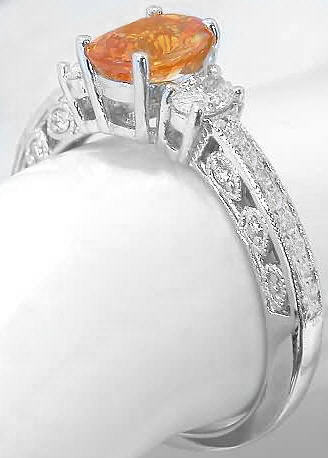 Antique Orange Sapphire Engagement Ring 14k White Gold Gr
