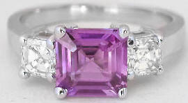 Magenta Sapphire and Asscher Cut Diamond Ring in 14k white gold