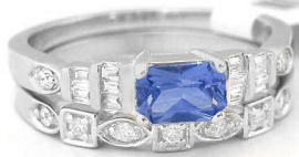 Ceylon Sapphire and Diamond Engagement Ring with Matching Wedding Band