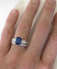 Emerald Cut Sapphire and Baguette Diamond Engagement Ring and Wedding Band