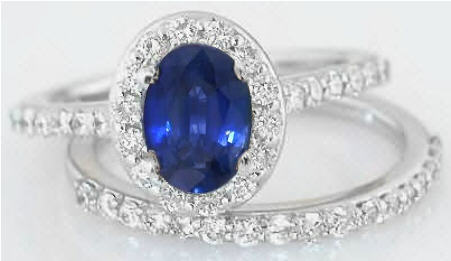 sapphire diamond halo engagement ring with matching band - Sapphire Wedding Rings