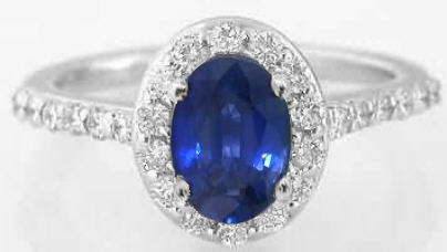 Oval Sapphire Rings with Diamond Halo Setting in 14k White Gold from