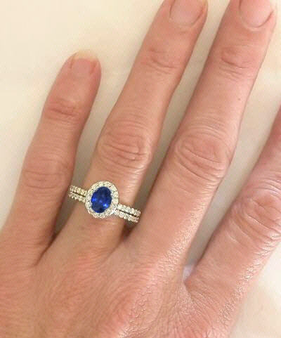 Oval Sapphire Diamond Halo Engagement Ring With Matching Diamond Wedding Band In 14k From ...
