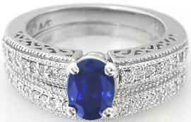 Sapphire and Diamond Engagement Ring and Matching Band