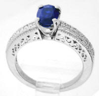 Vintage Filigree Blue Sapphire and Diamond Ring in 14k gold