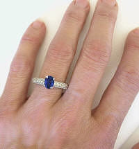 Vintage Filigree Sapphire and Diamond Ring in 14k white gold