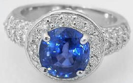 Ceylon Sapphire and Diamond Engagement Ring in 18k white gold
