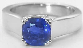 Sapphire Solitaire Engagement Ring in 14k white gold
