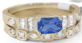 Radiant Cut Blue Sapphire Engagement Ring and Wedding Band