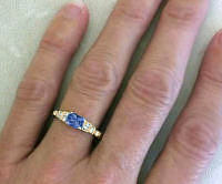 Ceylon Blue Sapphire and Diamond Ring in 14k gold