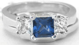 Princess Cut Sapphire Engagement Rings with Wedding Band