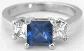 Princess Cut Blue and White Sapphire Ring in 14k white gold