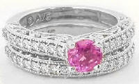 Round Pink Sapphire and Diamond Promise Ring in 14k white gold