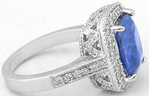 Untreated Ceylon Unheated Blue Sapphire and Diamond Ring in 14k white gold