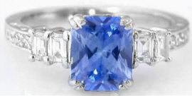 Ceylon Blue Sapphire and Diamond Ring in 18k white gold