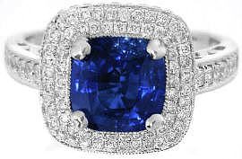Ceylon Cushion Blue Sapphire and Diamond Engagement Ring in 14k white gold