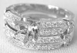 Diamond Semi Mount and Matching Band in 14k white gold with Heart Detail