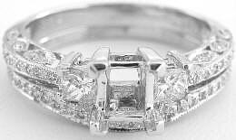 Antique Inspired 0.72 ctw Diamond Semi Mount and Matching Wedding Ring