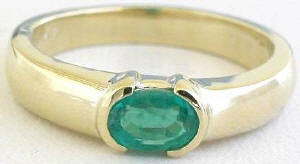 0.50 ctw Emerald Solitaire Ring in 14k yellow gold
