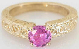 1.04 ct Round Pink Sapphire Solitaire Ring in 14k yellow gold