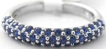 Stackable 0.86 ctw Blue Sapphire Ring in 14k white gold