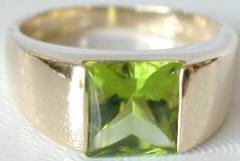 Peridot Tank Ring in 14k