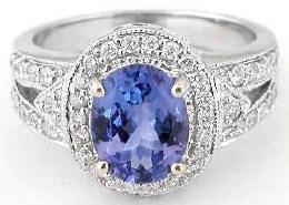 Oval Tanzanite Engagement Rings
