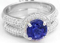 Tanzanite and Diamond Halo Engagement Ring and Wedding Band