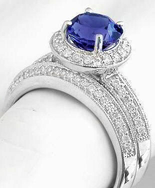 Tanzanite And Diamond Halo Engagement Ring Wedding Band In 14k