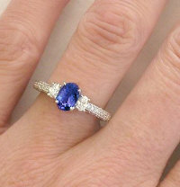 Antique Tanzanite and Diamond Engagement Ring