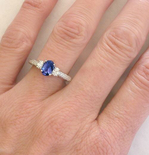 white diamond p halo context gold carat engagement tanzanite and rings ring in