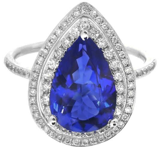 pear shape tanzanite rings with double halo of diamonds in
