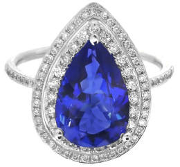 3.05 ctw Pear Shape Tanzanite and Diamond Ring in 14k
