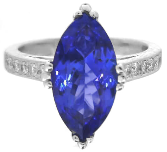 Marquise Tanzanite And Diamond Ring In 14k White Gold Gr