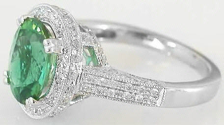 Sea Foam Green Tourmaline Engagement Ring With Diamond