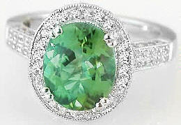 Seafoam Green Tourmaline and Diamond Engagement Rings