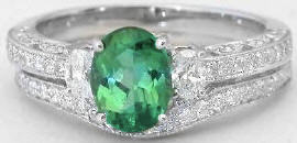 Seafoam Green Tourmaline Diamond Engagement Ring and Wedding Band