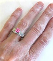Antique Style Pink Tourmaline Diamond Engagement Ring with Matching Band