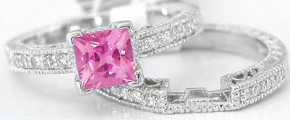 Pink Tourmaline Diamond Engagement Ring With Matching Band