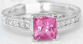 Princess Cut Pink Tourmaline Diamond Rings