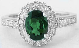Elegant Green Tourmaline and Diamond Rings